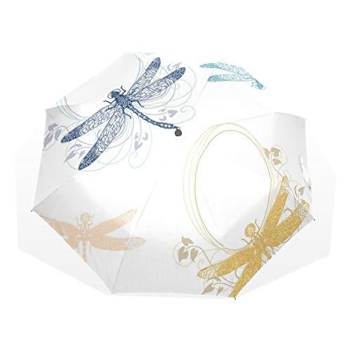 LASINSU Regenschirm,Blumenfrühlings Wanzen Flügel mit Blumen Blumenblättern Tiernatur Eleganz kunstvollem Motiv,Faltbar Kompakt Sonnenschirm UV Schutz Winddicht Regenschirm