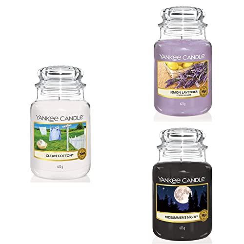 Yankee Candle Candele in Giara Grande, Clean Cotton + Lavanda al limone + Notte di Mezza Estate, Durata Fino a 150 Ore