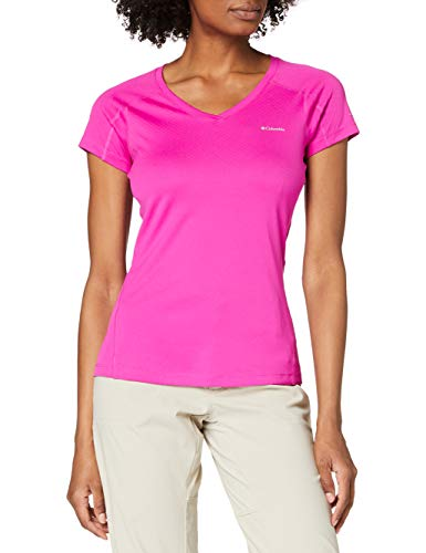 Columbia T-Shirt Femme, ZERO RULES SHORT SLEEVE SHIRT, Polyester, Rose (Groovy Pink), Taille: XS, AL6914