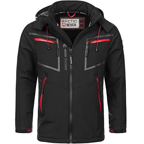 Arctic Seven Herren Designer Softshell Funktions Outdoor Regen Jacke Sport AS088 [AS-088-Schwarz-Gr.4XL]