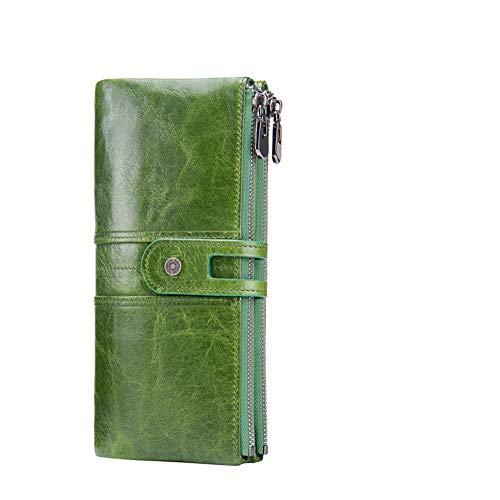 レディース 財布 Meikira 大容量 長財布 ファスナー付 スナップ ダブルボタン 本革製 がまぐち 二つ折り イタリアンレザー 人気 おしゃれ 5色 (グリーン)