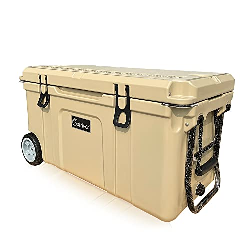 Coolriver Rotomolded Cooler with Wheels,Heavy Duty ice Chest, 75quart, tan