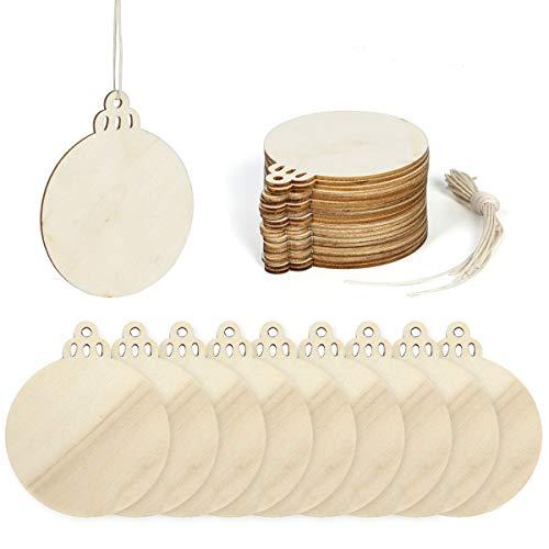 Funhoo 60Pcs Discos de madera redondos de 3-3.5 pulgadas con agujeros Rodajas de madera natural para centros de mesa de manualidades, manualidades para niños, adornos navideños Decoración colgante