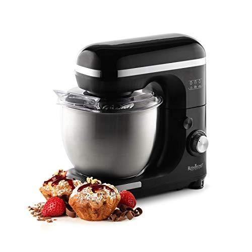 Rosmarino Infinity Küchenmaschine - Knetmaschine mit 5.5L Edelstahlschüssel - Rührmaschine mit Spritzschutzdeckel - 1000W