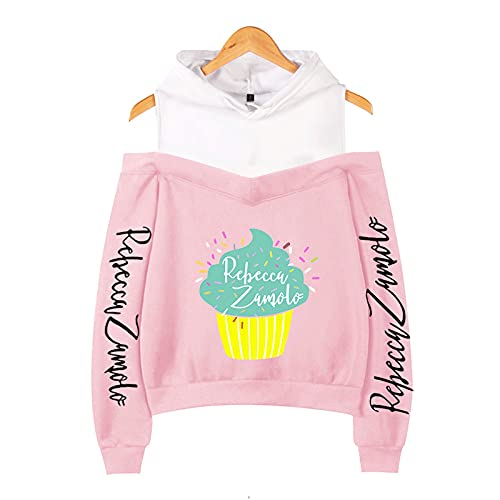 CCEE Odzież damska babeczka Zamfam Merch Logo Rebecca Zamolo Off Shoulder Bluza z kapturem Kpop moda seksowna damska bluza różowy M