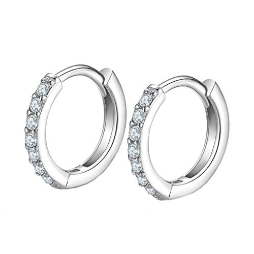 Hoop Earrings for Women,925 Silver Hypoallergenic Girls Earrings,5A Cubic Zirconia 14-18mm Silver Earrings Gifts for Mother's Day, Birthday, Christmas, Anniversary