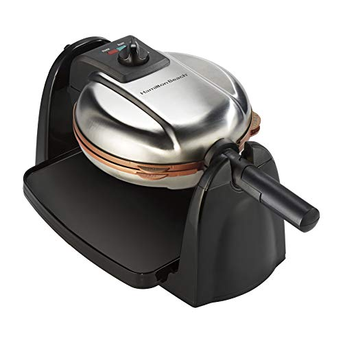 Hamilton Beach Flip Belgian Waffle Maker with Non-Stick Copper Ceramic Removable Plates, Browning Control, Drip Tray, Stainless Steel (26031)