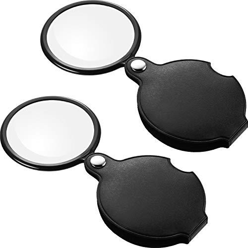 2 Piezas de Lupas de Bolsillo 10 X 5X Mini Vidrio de Lupa de Bolsillo con Funda Protectora Giratoria para Anciano y Niños, 6 cm, Negro