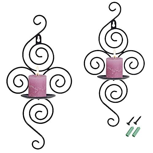 SITAKE 2 Pezzi da Candeliere Sospeso a Muro Vintage, Candelabro Creativo di Ferro per la Casa, Matrimoni, Eventi, Feste