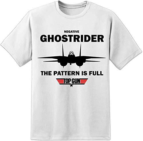 Digital Pharaoh Herren Top Gun Negative Ghostrider Noms T Shirt Maverick Gans Iceman Film Gr. L (107/112 cm), weiß