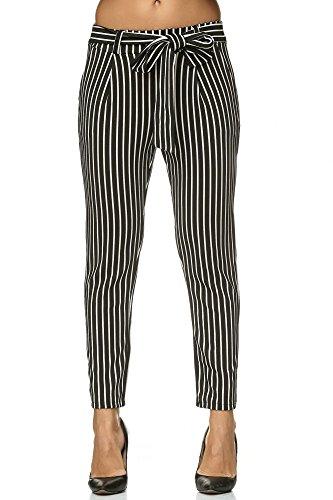 Elara Damen Stretch Hose   Gummibund   Stoffhose mit Schleife   Slim Fit   Chunkyrayan 8518 Black-White 34/XS