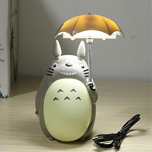 Anabei Hayao Miyazaki My Neighbor Totoro Luz nocturna con paraguas dibujos animados My Neighbor Totoro Lámpara de mesa creativa Estudiante Dormitorio Lámpara de Mesita de Noche Luz LED