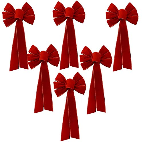 Red Velvet Christmas Wreath Bows - 10' Wide, Set of 6, Front Door, Gate, Fence, Retail Display Decorations, Gift Basket, Swag & Garland Decoration, Festive Winter Decor