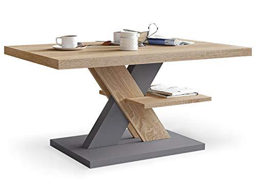 Viosimc Moderner Wohnzimmertisch, Couchtisch Eiche & Grau, Wohnzimmer Sofatisch Kaffeetisch, Modern Matt Sofa Tisch, Mittel- oder Beistelltisch für Tee und Kaffee