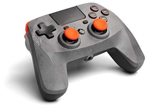 snakebyte GAMEPAD 4S – Grau/Orange - Wireless Bluetooth Controller für PlayStation 4 / PS4 Slim / Pro, Analoge Dual Joysticks, PC kompatibel (Windows 7 / 8 / 10),3,5mm Kopfhöreranschluss, Touchpad
