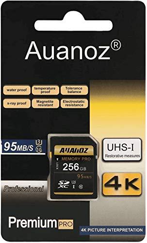 AUANOZ Tarjeta de memoria TF 256GB, Ultra Clase 10 de alta velocidad, tarjeta de memoria adecuada para cámaras y videocámaras U3, hasta 95 MB/s Clase 10 (negro/dorado, 256 g)