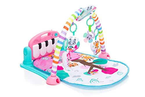 Fillikid Aktivbogen Piano Exclusiv, Klavier-Spielmatte, Erlebnisdecke, Krabbeldecke mit Musik und Lichtern, Spieldecke für Babys mit weichem Spielbogen, ab 0 Monaten, Design:rosa