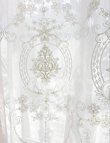 Lactraum Cortinas de salón bordadas vintage clásicas de voile normal con banda universal 200 x 245 cm