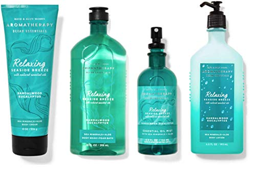 Bath and Body Works Aromatherapy Ocean Essentials Relaxing - Sandalwood Eucalyptus Gift Set - Body Cream - Essential Oil Mist - Body wash + Foam Bath - Body Lotion - Full Size