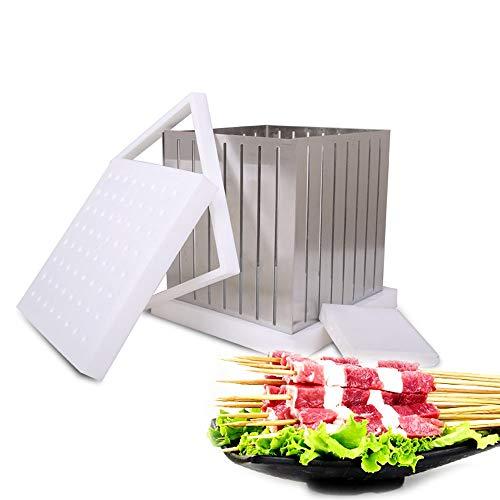 WYZXR BBQ 64 Hoyos Kebab Maker Box Acero Inoxidable Carne de Desgaste rápido, Brochette Express, Brochetas de Metal de Alta eficiencia Máquina para Hacer artesanías