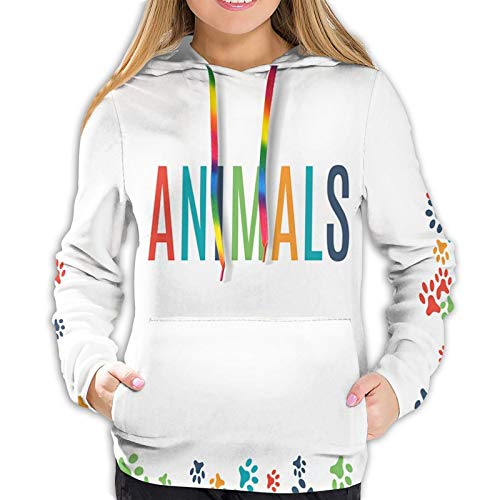 Women's Fashion Hoodies 18356D Print,Animal Footprint Ornament Border Cute Paw Trace Cats and Dogs Friendly House Pets,Classic Pullover Hooded Sweatshirt,Large