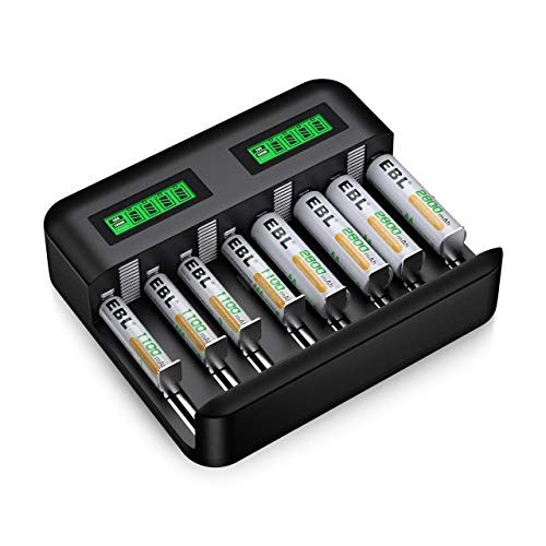 EBL Caricabatterie Universale 8 slot per AA e AAA C e D Batterie Ricaricabili con LCD Display e Porta USB,Confezione con 4 pcs AA Pile Ricaricabili e 4 pcs AAA Pile Ricaricabili