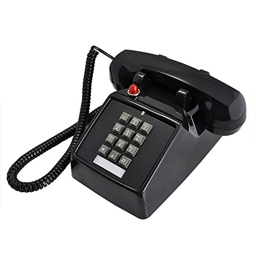 ZfgG Black Classic Retro 1970s Vintage stijl vaste telefoon, functies traditionele bel ring en drukknop wijzerplaat - pluggen in standaard telefoonaansluiting
