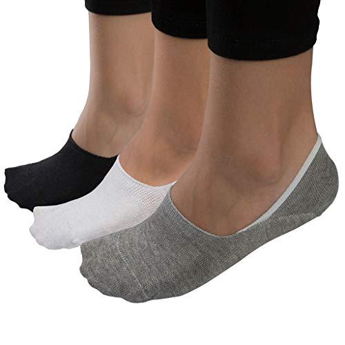 Istanbul Laundry Shop 6 Paar Sneaker Socken/Ballerinas für Damen & Herren| Hochwertige Türkische Baumwolle mit Rutschfestem Silikongriff / 2 x Grau Schwarz & Weiße Füsslinge