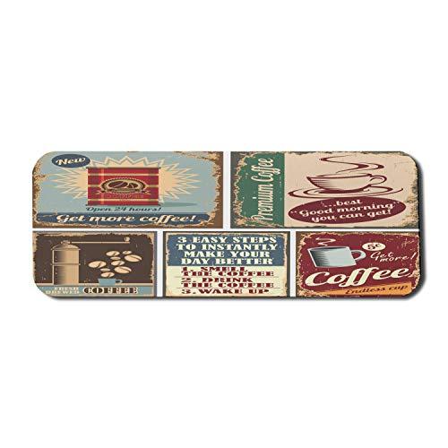 1950er Jahre Computer Mouse Pad, Kaffee Poster und Schilder Design Bohnenbecher Espresso Tasse Cappuccino Logo Druck, Rechteck rutschfeste Gummi Mousepad große mehrfarbig