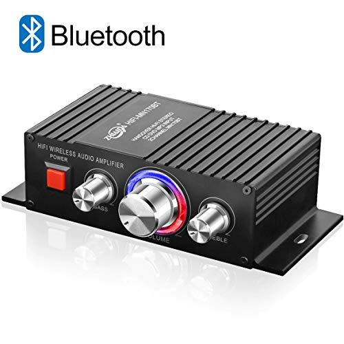 Mini HiFi Verstärker Bluetooth TTMOW 2 x 50W Stereo Audio Amplifier Bass Kanal Audio Endstufe Kleiner Verstaerker für Home und Auto KFZ