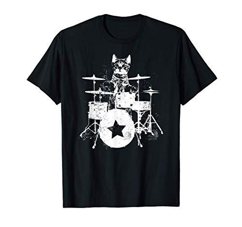 Punk Rockstar Kitten Kitty Cat Drummer Playing Drums Graphic Camiseta