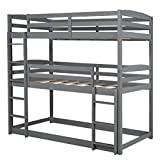 ZJXADS Twin Over Twin Over Twin Triple Bunk Bed with Two-Side Ladders & Safety Guard Rails No Box Spring Required (Color:Gray)