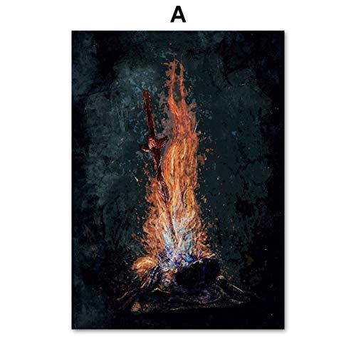 Bloodborne Dark Souls Videojuego Cartel Arte de la Pared Pintura de la Lona Nordic Posters And Prints Wall Pictures Para la Sala de estar Decoración A 40 * 50 cm