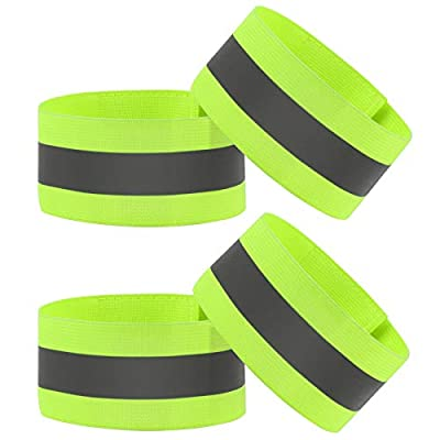 Vegena Reflective Bands, High Visibility Reflective Running Gear,4Pcs Reflective Gear Armband for Running Wristbands Ankle Bands Pt Belt for Men Women Cycling, Night Running, Motorcycle