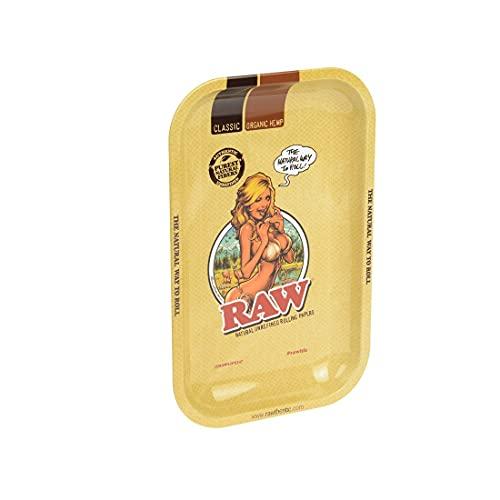 Unbekannt CADE-0107-S20171012 Raw-Vassoio per rollare Piccolo, 27,5 x 17,5 cm, Metallo, Beige