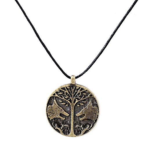 LevinArt Mode Spiel Vintage Destiny Friedensbaum Halsketten Hochwertige Wikinger Friedensbaum Zwei Wolf Runde Halskette Für Männer (1)