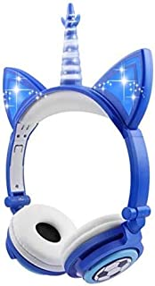 Christmas Unicorn Kids Headphones,Over Ear with LED Glowing Cat Ears,Safe Wired Kids Headsets 85dB Volume Limited, Food Gr...