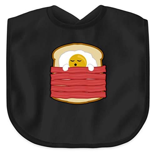 SPIRITSHIRTSHOP Ei mit Bacon auf Toast - Toast Hawai Fast Food - auch als Geschenk - Baby Lätzchen -Einheitsgröße-Schwarz
