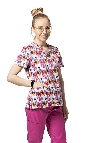 Scrubscology Schlupfjacke Damen Mia Anatomical Garden - Kasacks Damen Arbeitskleidung & Uniformen - Mediznischer V-Ausschnitt Kasacks Damen Pflege - Hergestellt in der EU