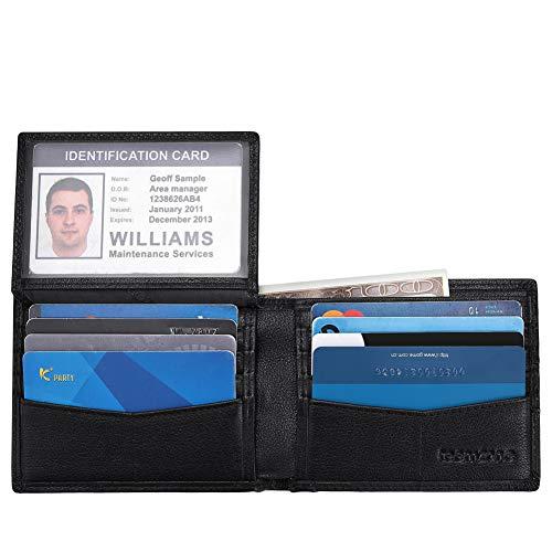 Teemzone Cartera de Piel Multifuncional para Hombres más Delgada para Uso Diario con la protección del Revestimiento de RFID Bloqueo