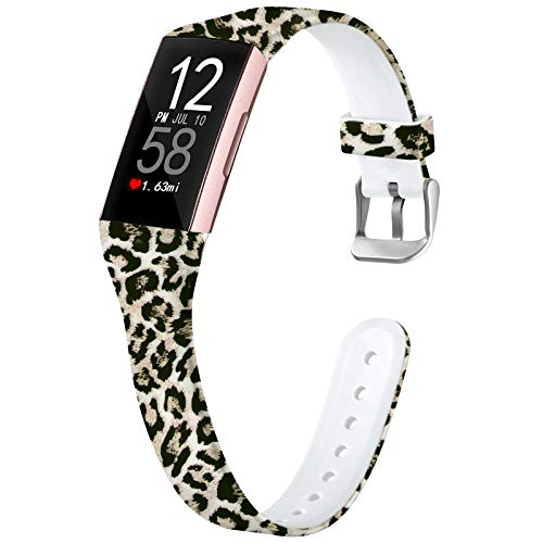 Nofeda Bands Compatible with Fitbit Charge 3/ Charge3 SE/Fitbit Charge 4 Bands for Women, Slim Soft Printed Fadeless Replacement Strap Band for Women Men, Small, Leopard