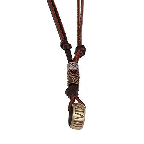 AIUIN - Collar de aleación de metal y aleación de piel auténtica, con cordón ajustable de 65 a 70 cm, para hombre y mujer