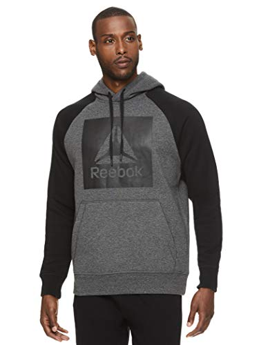 Reebok Men's Performance Pullover Hoodie Sweatshirt - Graphic Hooded Activewear Sweater with Front Pocket - Beast 2.0 Po Charcoal Grey Heather, Large