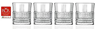 RCR Cristalleria Italiana Crystal Glass Drinkware Set (DOF Whiskey (11.4 oz) - 4 Piece)