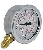 """Manometro Glicerina Ø 63 mm verticale 1/4"""" AG idraulica, molla tubolare, KL 1,6 (0-4 bar)"""