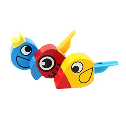 Milisten 4Pcs Juguete de Llamada de Pájaro de Silbato de Madera Juguete Educativo de Forma de Pájaro de Dibujos Animados para Regalo de Niño (Color Aleatorio)