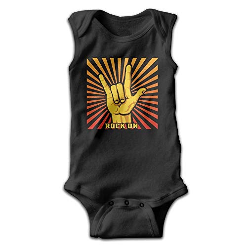 SDGSS Ropa para bebés Bodysuits Rock On Roll Hand Pattern Cute Infant Baby Kids Sleeveless Toddler Climb Jumpsuit|Crawling Clothes
