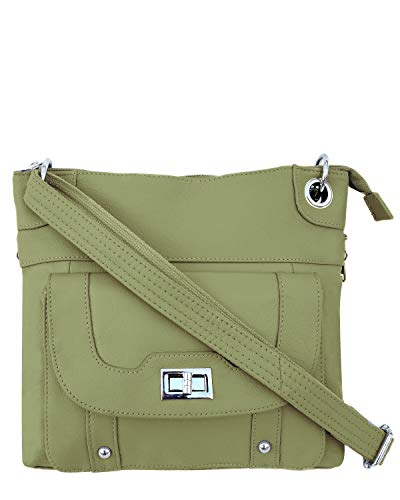 Roma Leathers Concealed Carry Cross Body Leather Gun Purse with Locking Zipper Olive, Small