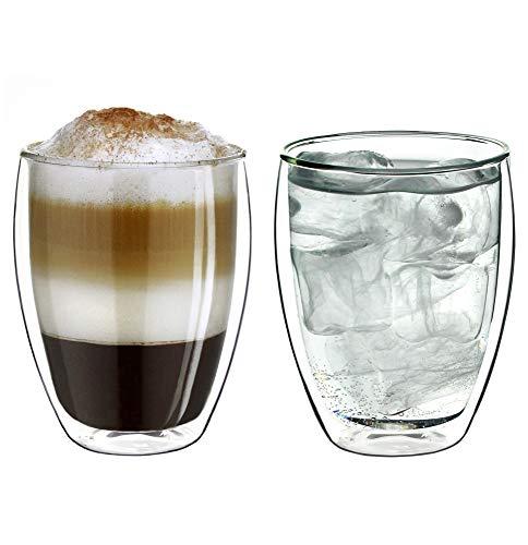 """Creano doppelwandige Gläser 250ml """"DG-Hoch"""", 2er Set, großes Thermoglas doppelwandig aus Borosilikatglas, Kaffeegläser, Teegläser, Latte Gläser, Doppelwandgläser"""