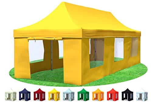 Stabilezelte Faltpavillon 3x9 Meter Professional mit Fensterseiten gelb
